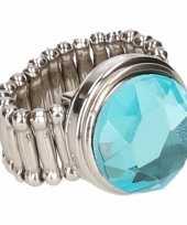 Carnavalskleding zilveren ring blauwe diamant chunk roosendaal