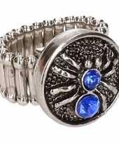 Carnavalskleding zilveren ring blauwe spin chunk roosendaal