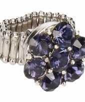 Carnavalskleding zilveren ring blauwe steentjes chunk roosendaal