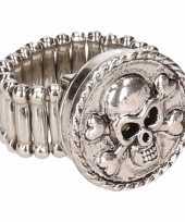 Carnavalskleding zilveren ring doodskop chunk roosendaal