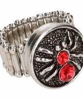 Carnavalskleding zilveren ring rode spin chunk roosendaal