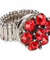 Carnavalskleding zilveren ring rode steentjes chunk roosendaal