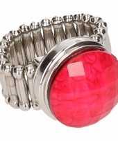 Carnavalskleding zilveren ring roze steen chunk roosendaal