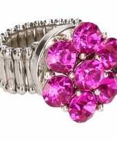 Carnavalskleding zilveren ring roze steentjes chunk roosendaal