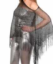 Carnavalskleding zilveren visnet poncho omslagdoek stola dames roosendaal