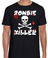 Carnavalskleding zombie killer halloween t-shirt zwart heren roosendaal