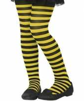 Carnavalskleding zwart gele verkleed panty kinderen roosendaal