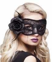 Carnavalskleding zwart oogmasker roos dames roosendaal