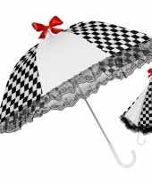Carnavalskleding zwart wit geblokte paraplu roosendaal