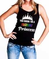 Carnavalskleding zwart you know i am a fucking princess tanktop dames roosendaal