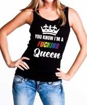 Carnavalskleding zwart you know i am a fucking queen tanktop dames roosendaal
