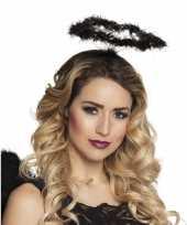 Carnavalskleding zwarte engel verkleed diadeem tiara halo roosendaal