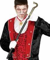 Carnavalskleding zwarte vampier dracula wandelstok slang roosendaal